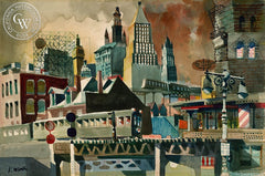 Chatham Street Station, New York, c. 1950, California art by Dong Kingman. HD giclee art prints for sale at CaliforniaWatercolor.com - original California paintings, & premium giclee prints for sale