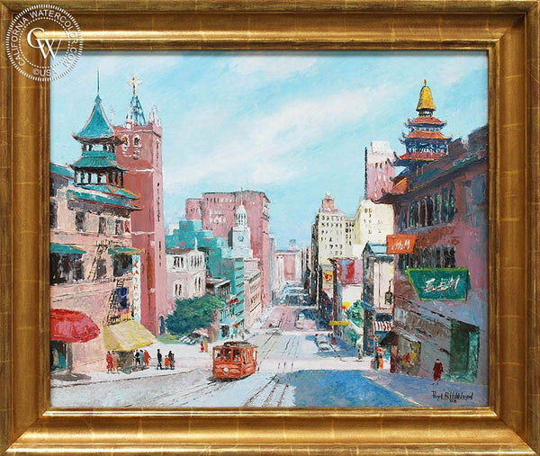 Floyd Hildebrand - California Street, 1958, an original California oil painting for sale, original California art for sale - CaliforniaWatercolor.com