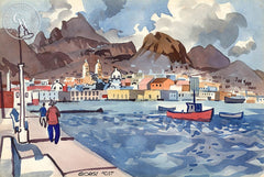 Guaymas, Mexico, 1957, California art by George Post. HD giclee art prints for sale at CaliforniaWatercolor.com - original California paintings, & premium giclee prints for sale