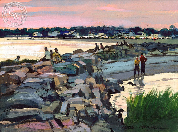 Beach at Compo Sunset, 1970, California art by Hardie Gramatky. HD giclee art prints for sale at CaliforniaWatercolor.com - original California paintings, & premium giclee prints for sale
