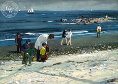 Compo Beach Figures, 1971, California art by Hardie Gramatky. HD giclee art prints for sale at CaliforniaWatercolor.com - original California paintings, & premium giclee prints for sale