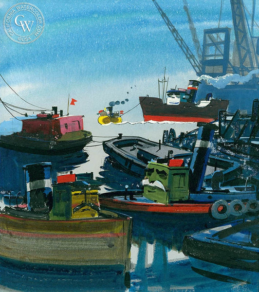 The Old Tugs, California art by Hardie Gramatky. HD giclee art prints for sale at CaliforniaWatercolor.com - original California paintings, & premium giclee prints for sale
