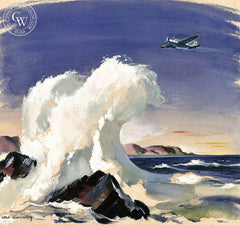 Island Fighter, California art by Hardie Gramatky. HD giclee art prints for sale at CaliforniaWatercolor.com - original California paintings, & premium giclee prints for sale