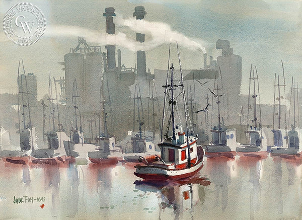 Moss Landing, California art by Jade Fon. HD giclee art prints for sale at CaliforniaWatercolor.com - original California paintings, & premium giclee prints for sale