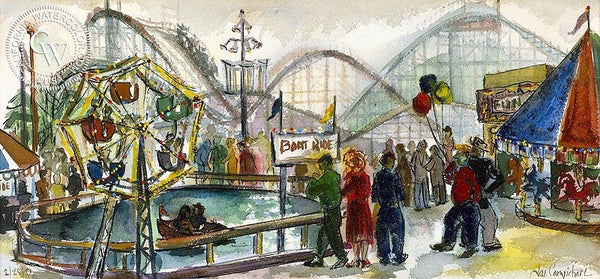 Jae Carmichael - Carnival, 1951 - California art - fine art print for sale, giclee watercolor print - Californiawatercolor.com