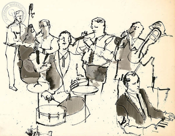 Jazz Band, California art by John Altoon. HD giclee art prints for sale at CaliforniaWatercolor.com - original California paintings, & premium giclee prints for sale