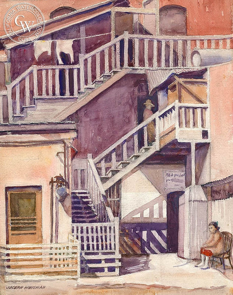 Back Stairs, 1935, California art by Joseph Weisman. HD giclee art prints for sale at CaliforniaWatercolor.com - original California paintings, & premium giclee prints for sale