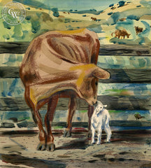 Adopting the Lamb, California art by Lee Blair. HD giclee art prints for sale at CaliforniaWatercolor.com - original California paintings, & premium giclee prints for sale