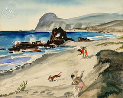 Beach Day, California art by Lee Blair. HD giclee art prints for sale at CaliforniaWatercolor.com - original California paintings, & premium giclee prints for sale