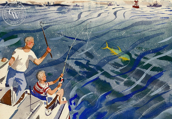 Deep Sea Fishing, California art by Lee Blair. HD giclee art prints for sale at CaliforniaWatercolor.com - original California paintings, & premium giclee prints for sale