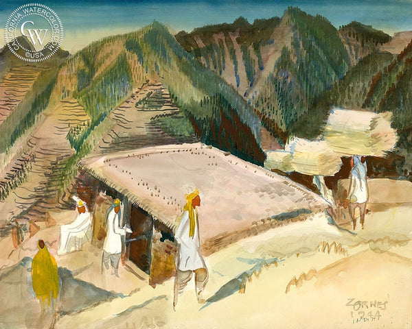 At Khanaspur, India, 1944, California art by Milford Zornes. HD giclee art prints for sale at CaliforniaWatercolor.com - original California paintings, & premium giclee prints for sale