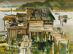 Bano de Canaroneras, 1975, California art by Milford Zornes. HD giclee art prints for sale at CaliforniaWatercolor.com - original California paintings, & premium giclee prints for sale