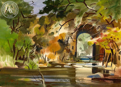 Bridge in Colima, 1971, California art by Milford Zornes. HD giclee art prints for sale at CaliforniaWatercolor.com - original California paintings, & premium giclee prints for sale