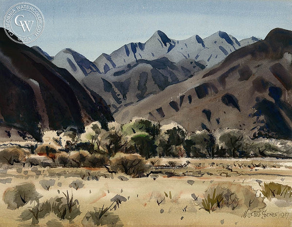 El Cajon Pass, 1957, California art by Milford Zornes. HD giclee art prints for sale at CaliforniaWatercolor.com - original California paintings, & premium giclee prints for sale