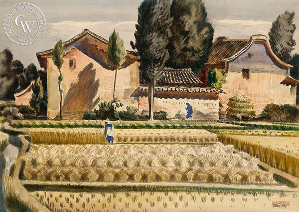 Farm of Kunming, 1944, California art by Milford Zornes. HD giclee art prints for sale at CaliforniaWatercolor.com - original California paintings, & premium giclee prints for sale