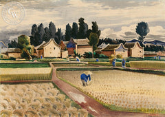 Field of Kunming, 1944, California art by Milford Zornes. HD giclee art prints for sale at CaliforniaWatercolor.com - original California paintings, & premium giclee prints for sale