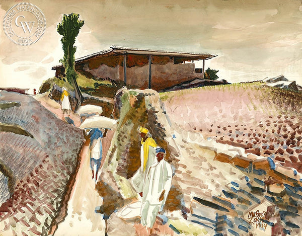 Hill Houses at Khanaspur, India, 1944, California art by Milford Zornes. HD giclee art prints for sale at CaliforniaWatercolor.com - original California paintings, & premium giclee prints for sale