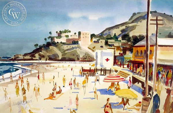 Main Beach, Laguna, 1952, California art by Milford Zornes. HD giclee art prints for sale at CaliforniaWatercolor.com - original California paintings, & premium giclee prints for sale