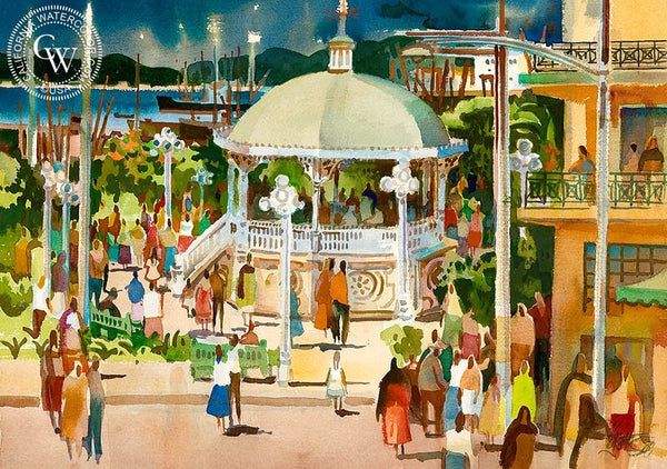 Gazebo at Manzanillo, 1981, California art by Milford Zornes. HD giclee art prints for sale at CaliforniaWatercolor.com - original California paintings, & premium giclee prints for sale