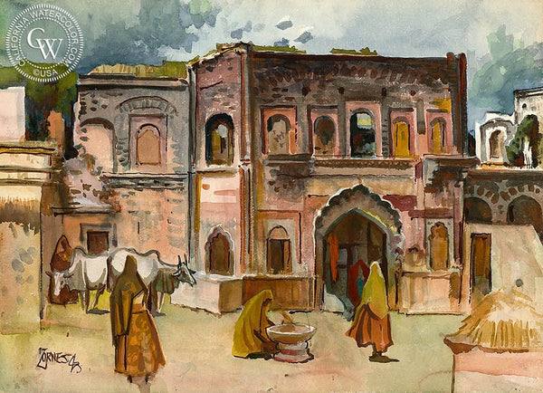 Old City of Delhi, 1943, California art by Milford Zornes. HD giclee art prints for sale at CaliforniaWatercolor.com - original California paintings, & premium giclee prints for sale