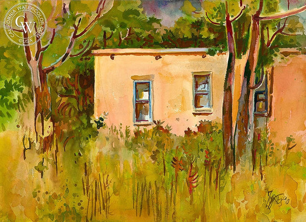 Old Town House, Santa Fe, 1990, California art by Milford Zornes. HD giclee art prints for sale at CaliforniaWatercolor.com - original California paintings, & premium giclee prints for sale