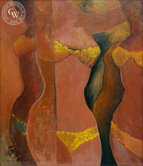 Milford Zornes - Show Girls, 1952, an original California oil painting for sale, original California art for sale - CaliforniaWatercolor.com