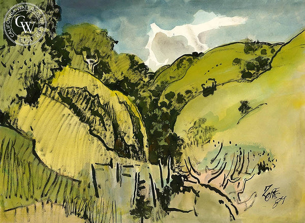 South Hills, 1984, California art by Milford Zornes. HD giclee art prints for sale at CaliforniaWatercolor.com - original California paintings, & premium giclee prints for sale