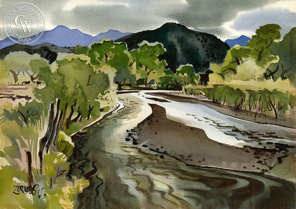 The Magdalena at Imuris, 1966, California art by Milford Zornes. HD giclee art prints for sale at CaliforniaWatercolor.com - original California paintings, & premium giclee prints for sale