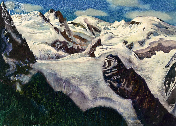 Chamonix, France, c. 1970's, California art by Millard Sheets. HD giclee art prints for sale at CaliforniaWatercolor.com - original California paintings, & premium giclee prints for sale