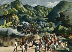 Red Cross, India, 1943, California art by Millard Sheets. HD giclee art prints for sale at CaliforniaWatercolor.com - original California paintings, & premium giclee prints for sale