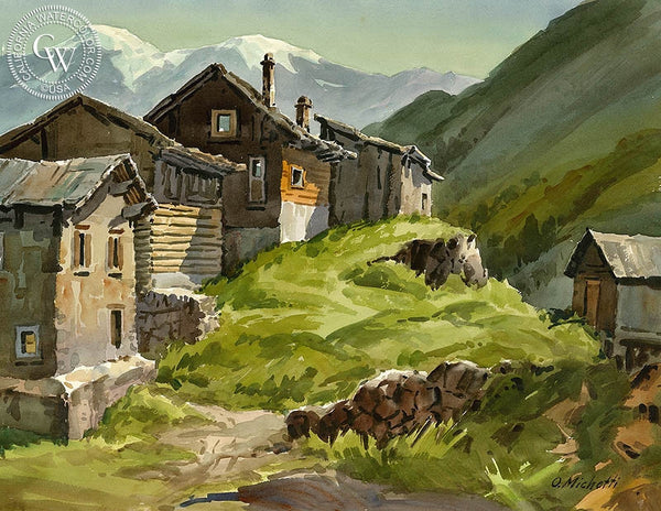 Hilltop Houses, Switzerland Oberlaps, California art by Othello Michetti. HD giclee art prints for sale at CaliforniaWatercolor.com - original California paintings, & premium giclee prints for sale