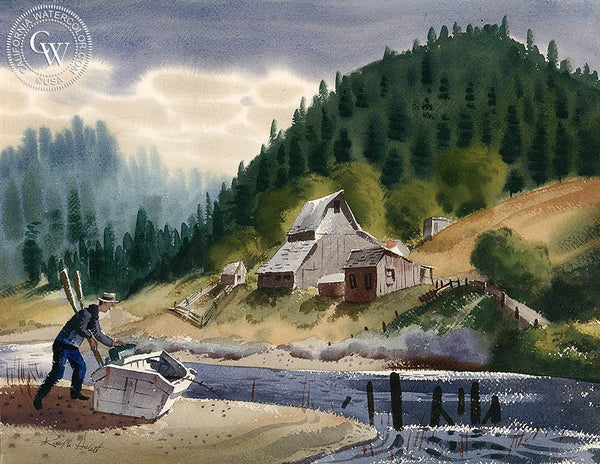 Russian River, South of San Francisco, 1948, California art by Ralph Hulett. HD giclee art prints for sale at CaliforniaWatercolor.com - original California paintings, & premium giclee prints for sale