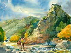 Fishing the Kern River, California art by Sid Bingham. HD giclee art prints for sale at CaliforniaWatercolor.com - original California paintings, & premium giclee prints for sale