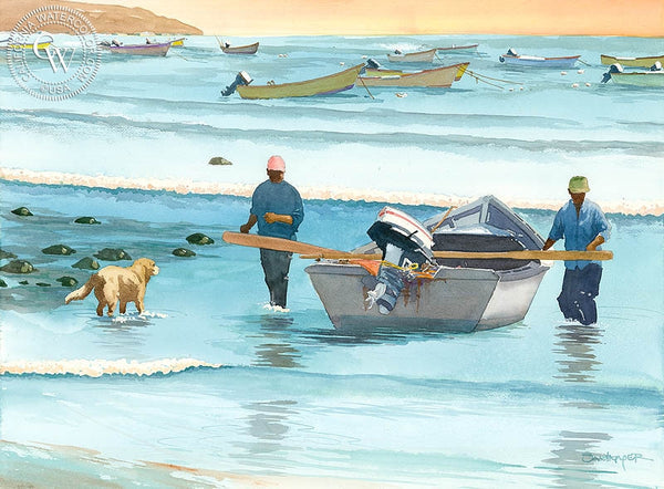 Castro's Fish Camp, Baja, California art by Steve Santmyer. HD giclee art prints for sale at CaliforniaWatercolor.com - original California paintings, & premium giclee prints for sale