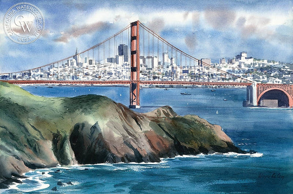 Golden Gate, S.F., California art by Wayne La Com. HD giclee art prints for sale at CaliforniaWatercolor.com - original California paintings, & premium giclee prints for sale