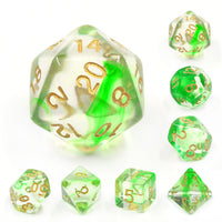 Green Ripples Dice Set