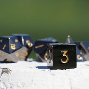 7 Piece Gun Metal Set-Gold Numbers with Case