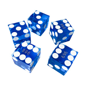 Seriallized Casino Dice 19mm (Blue) (Set of 5)