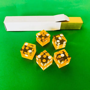 Seriallized Casino Dice 19mm (Yellow) (Set of 5)