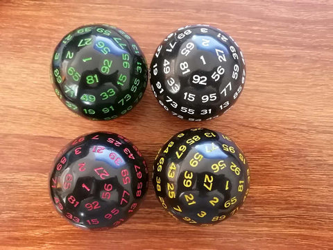100 Sided Polyhedral Die (D100) Green Numbers