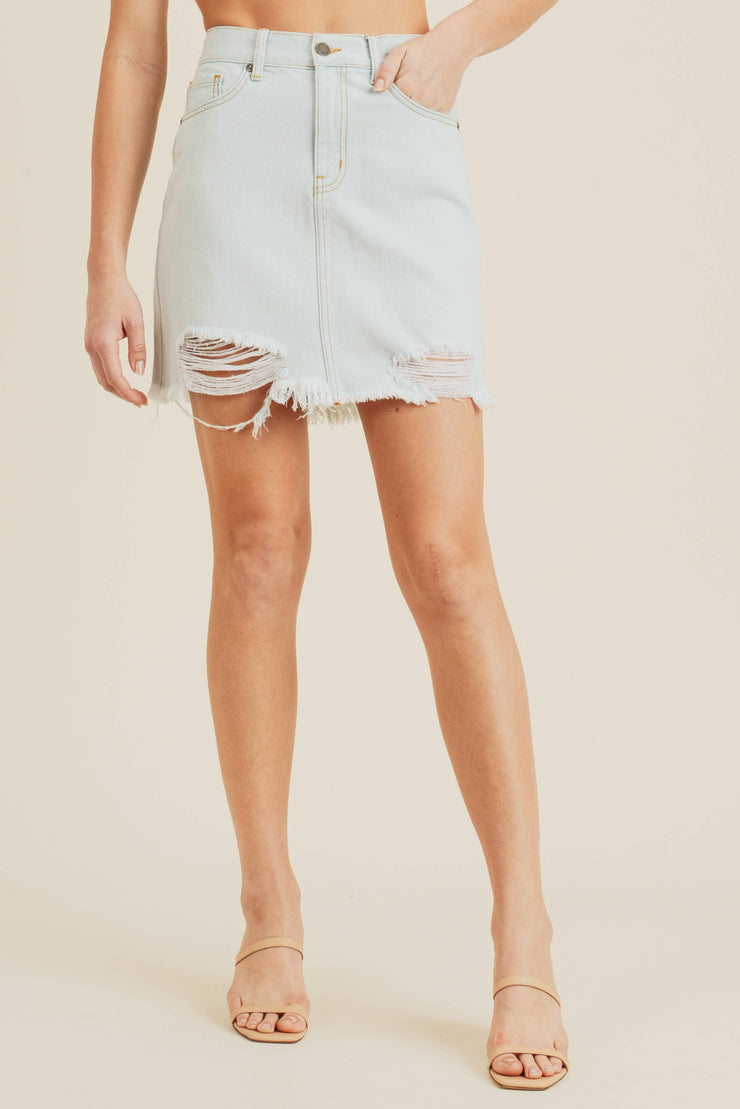 A-Line Mini Skirt with Hem Destruction