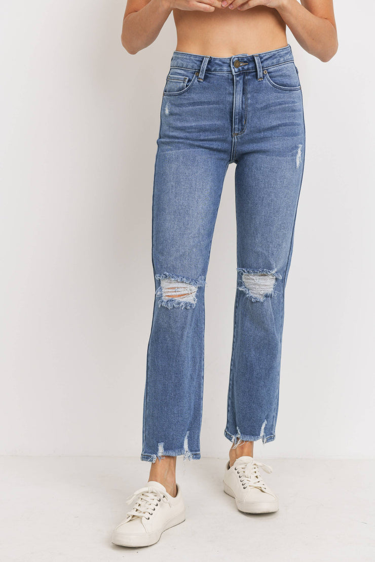 High Rise Medium Wash Distressed Straight Jean