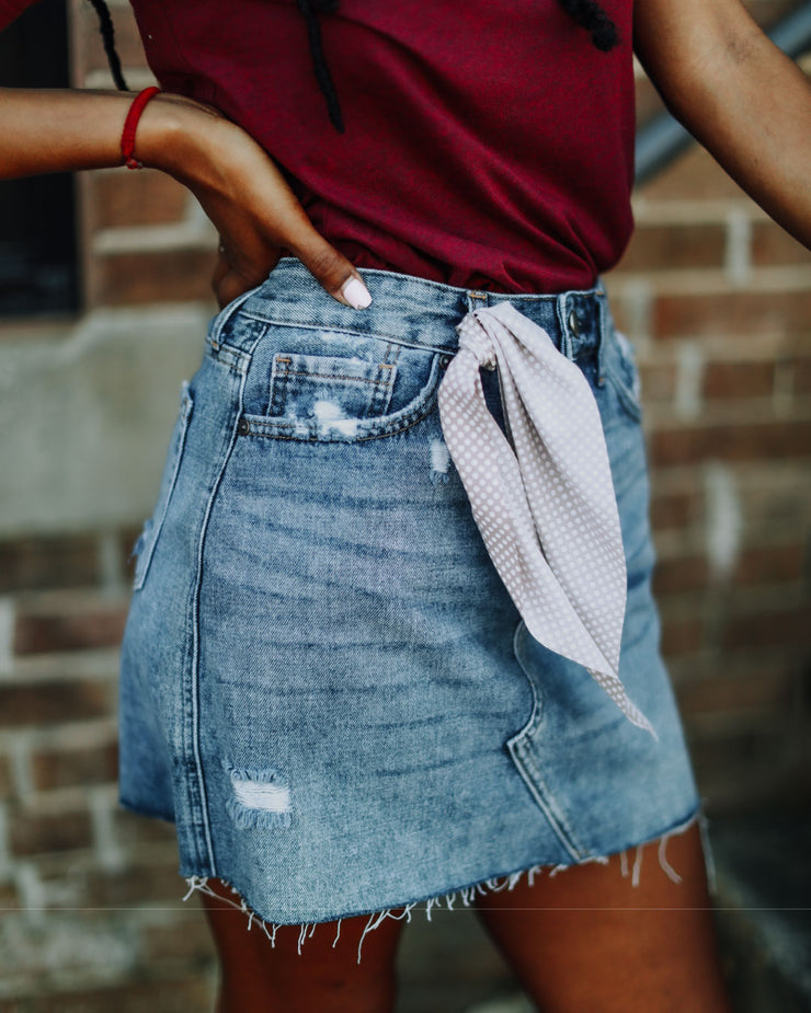 Destroyed A-Line Mini Skirt