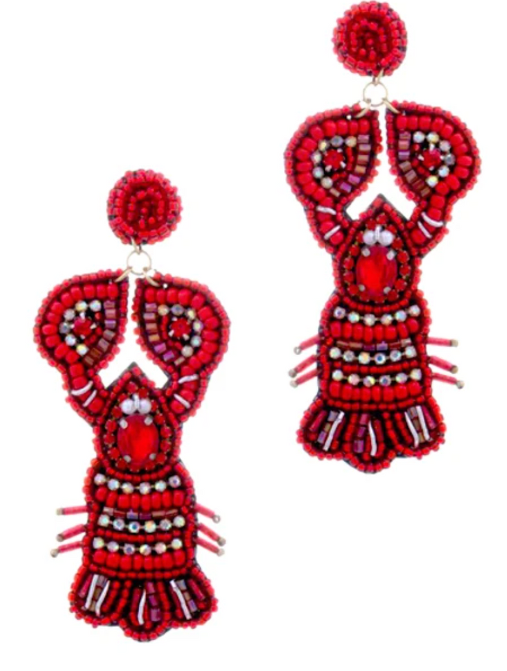 Rhinestone Crawfish Earrings