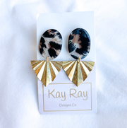 Leopard and Gold Post Earrings