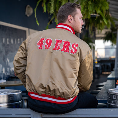 Vintage San Francisco 49ers Satin Bomber STARTER JACKET SPELL OUT - XL