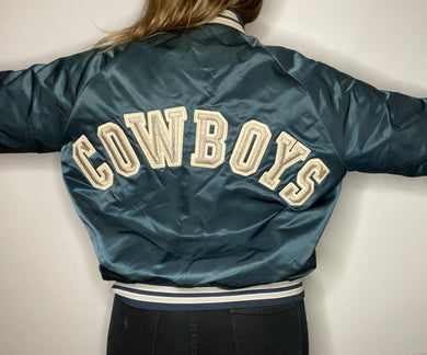 Vintage Dallas Cowboys Chalk Line Satin Bomber Jacket SPELL OUT - L