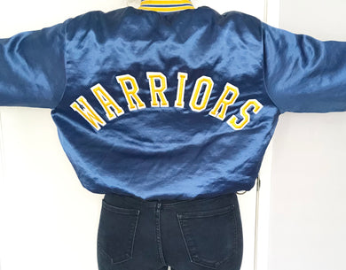 Vintage GSW Golden State Warriors Double-Sided Satin Bomber SPELL OUT - L