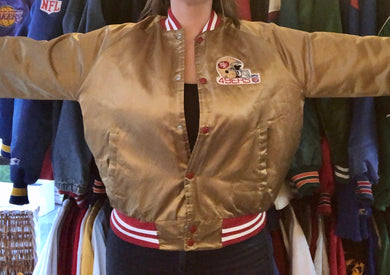 Vintage Gold San Francisco 49ers Chalk Line Satin Bomber Jacket - M