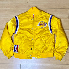 Load image into Gallery viewer, Vintage 1980s Los Angeles LA Lakers Satin Bomber STARTER JACKET - Youth Medium / Adult XS